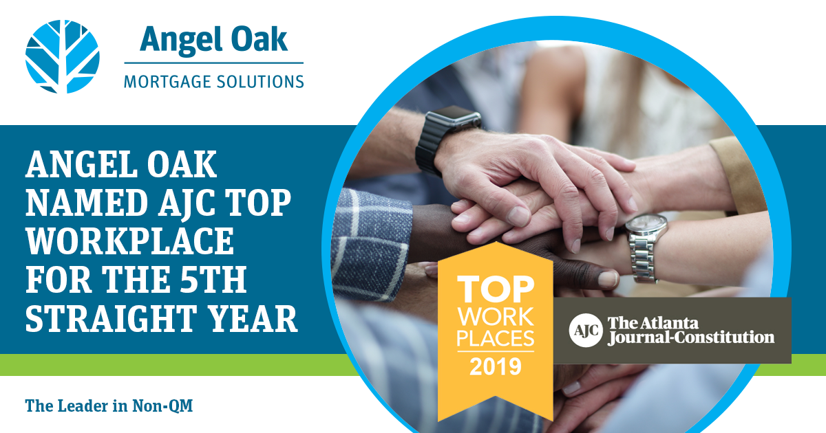 Angel Oak Named AJC Top Workplace for the 5th year
